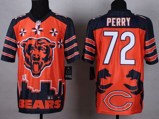 Mens Nfl Chicago Bears #72 Perry Orange&dark Blue 2015 Noble Fashion Elite Jersey
