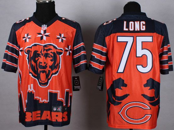 Mens Nfl Chicago Bears #75 Kyle Long Orange&dark Blue 2015 Noble Fashion Elite Jersey