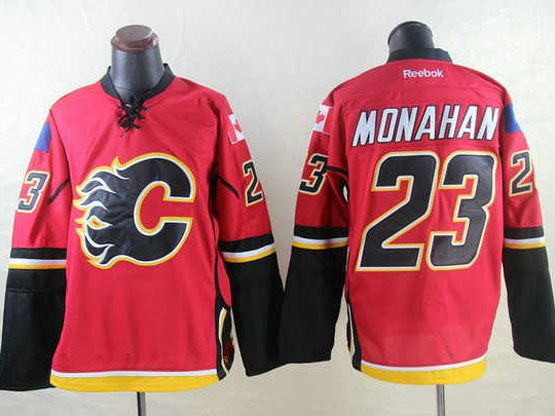 Mens Reebok Nhl Calgary Flames #23 Monahan Red Jersey
