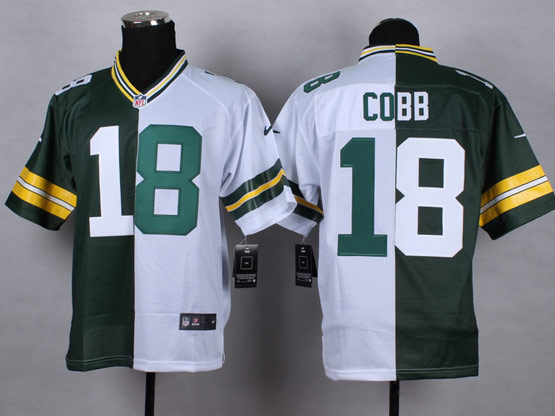 Mens Nfl Green Bay Packers #18 Cobb Green&white Split Elite Jersey