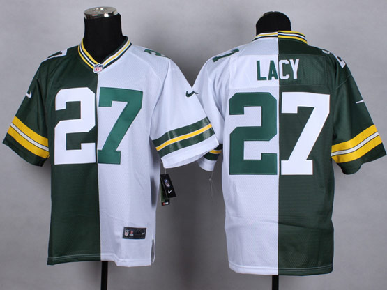 Mens Nfl Green Bay Packers #27 Lacy Green&white Split Elite Jersey