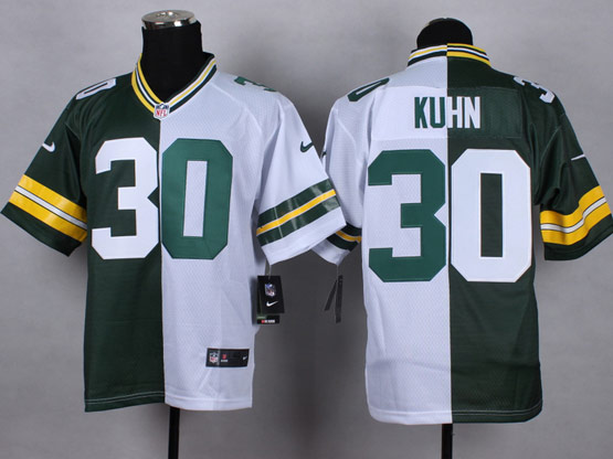 Mens Nfl Green Bay Packers #30 Kuhn Green&white Split Elite Jersey
