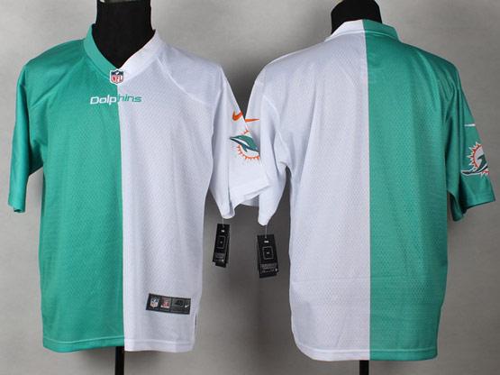 Mens Nfl Miami Dolphins (blank) Green&white Split Elite Jersey
