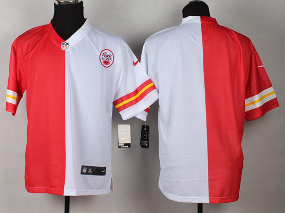 Mens Nfl Kansas City Chiefs (blank) Red&white Split Elite Jersey