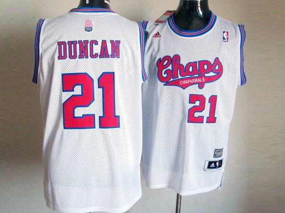 Mens Nba San Antonio Spurs #21 Duncan White (red Number Chaparrals) Jersey