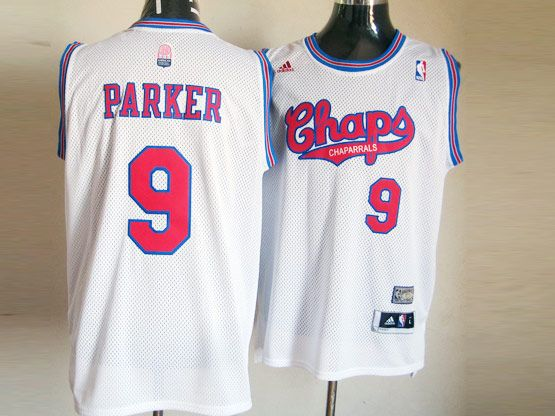 Mens Nba San Antonio Spurs #9 Parker White (red Number Chaparrals) Jersey