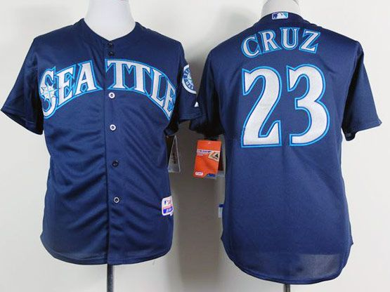 Mens mlb seattle mariners #23 cruz dark blue Jersey