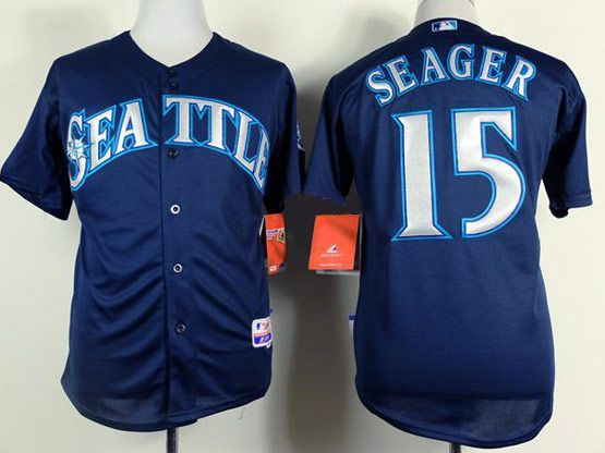 Mens mlb seattle mariners #15 seager dark blue Jersey