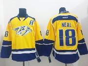 Mens reebok nhl nashville predators #18 neal yellow (2014 new) Jersey