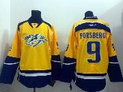 Mens reebok nhl nashville predators #9 forsberg yellow (2014 new) Jersey