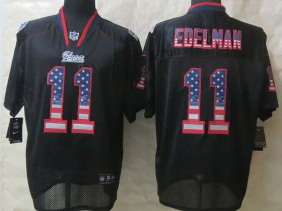 mens nfl New England Patriots #11 Julian Edelman black (2014 usa flag fashion) elite jersey