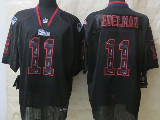 mens nfl New England Patriots #11 Julian Edelman new lights out (flower number) black elite jersey