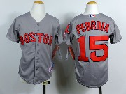 Youth Mlb Boston Red Sox #15 Pedroia Gray Red Number Jersey