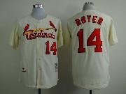 Mens mlb st.louis cardinals #14 boyer cream throwbacks Jersey