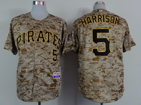 Mens mlb pittsburgh pirates #5 harrison camouflage painting Jersey