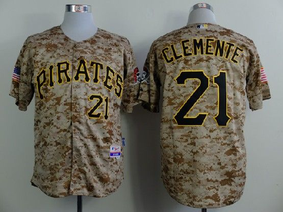 Mens mlb pittsburgh pirates #21 roberto clemente camouflage painting Jersey