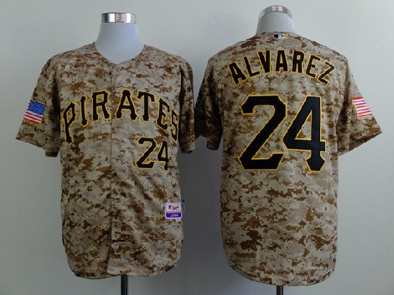 Mens mlb pittsburgh pirates #24 alvarez camouflage painting Jersey