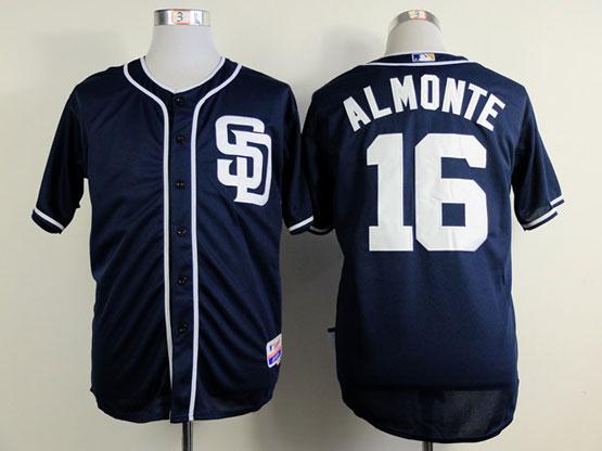 Mens mlb san diego padres #16 almonte dark blue Jersey