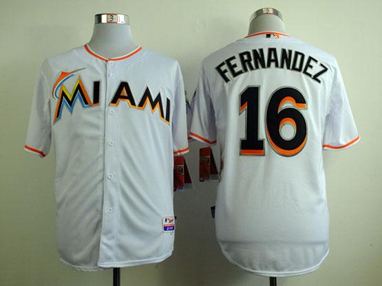 Mens Mlb Miami Marlins #16 Fernandez White Jersey