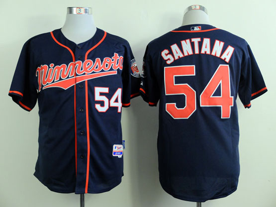 Mens Mlb Minnesota Twins #54 Santana Dark Blue (minnesota) Jersey