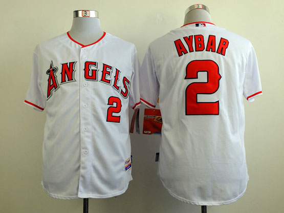 Mens mlb los angeles angels #2 aybar white Jersey