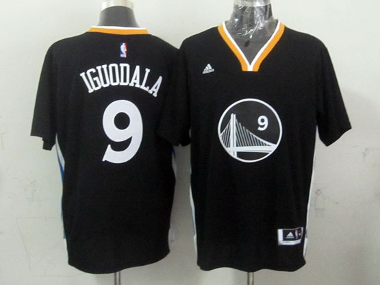 Mens Nba Golden State Warriors #9 Iguodala Black (short Sleeve) Jersey