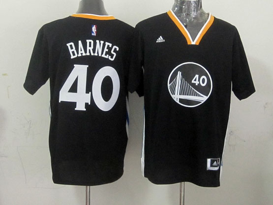 Mens Nba Golden State Warriors #40 Barnes Black (short Sleeve) Jersey