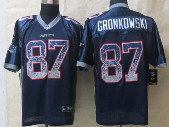 Mens Nfl New England Patriots #87 Gronkowski (2015 New) Drift Fashion Blue Elite Jersey