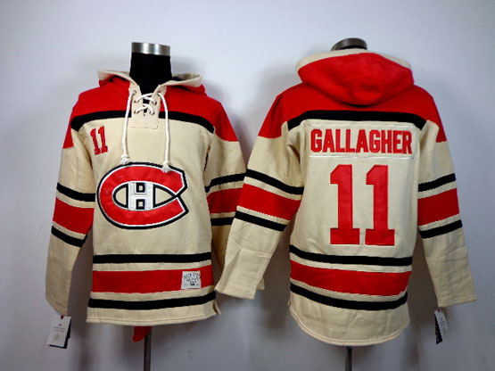Mens nhl montreal canadiens #11 gallagher cream hoodie Jersey