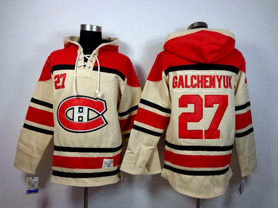 Mens nhl montreal canadiens #27 galchenyuk cream hoodie Jersey