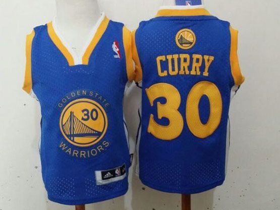 Kids Nba Golden State Warriors #30 Curry Blue Jersey
