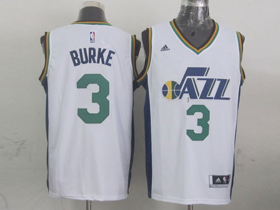 Mens Nba Utah Jazz #3 Burke White Revolution 30 Jersey (p)