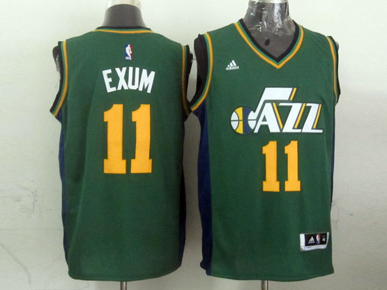 Mens Nba Utah Jazz #11 Exum Green Revolution 30 Jersey (p)