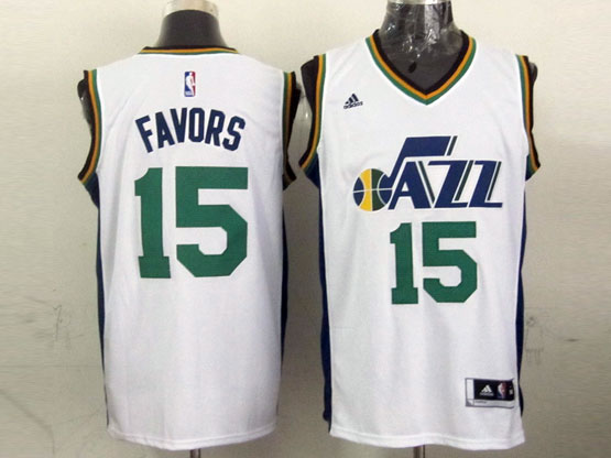 Mens Nba Utah Jazz #15 Favors White Revolution 30 Jersey (p)