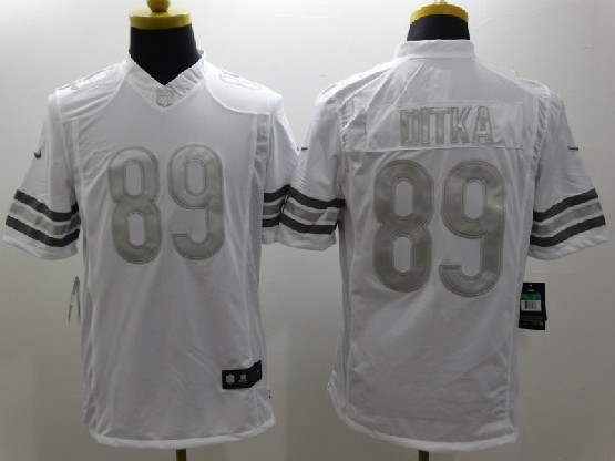 Mens Nfl Chicago Bears #89 Ditka White (silver Number) Platinum Limited Jersey