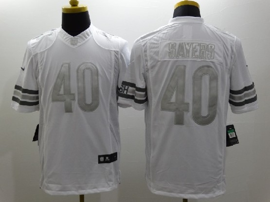 Mens Nfl Chicago Bears #40 Sayers White (silver Number) Platinum Limited Jersey