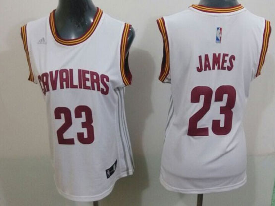 Women  Nba Cleveland Cavaliers #23 Lebron James White Jersey