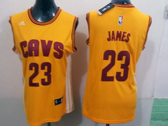 Women  Nba Cleveland Cavaliers #23 Lebron James Yellow Jersey