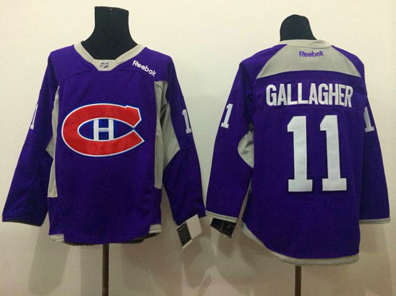 Mens reebok nhl montreal canadiens #11 gallagher purple (2015 new train) Jersey