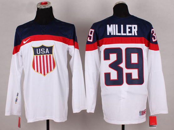 Mens nhl team usa #39 miller white (2014 olympics) Jersey