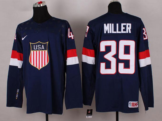 Mens nhl team usa #39 miller blue (2014 olympics) Jersey