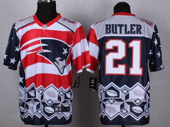 Mens Nfl New England Patrio #21 Butler Blue&white&red 2015 Noble Fashion Elite Jersey