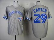 Mens Mitchell&ness Mlb Toronto Blue Jays #29 Joe Carter Gray Throwbacks Jersey