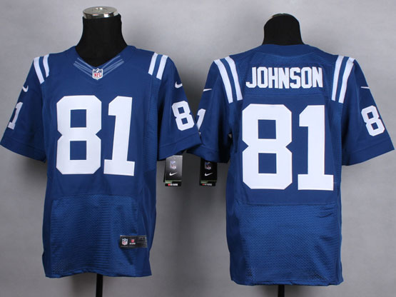 Mens Nfl Indianapolis Colts #81 Johnson Blue Elite Jersey