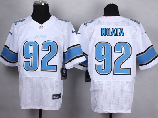 Mens Nfl Detroit Lions #92 Ngata White Elite Jersey