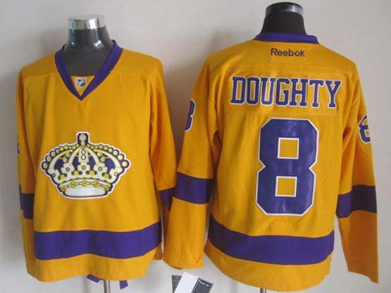Mens Nhl Los Angeles Kings #8 Doughty Yellow Throwbacks Jersey Dt