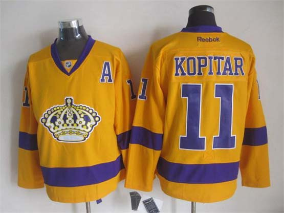 Mens Nhl Los Angeles Kings #11 Kopitar A Patch Yellow Throwbacks Jersey Dt