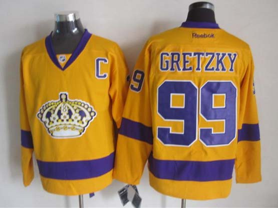 mens nhl los angeles kings #99 Wayne Gretzky c patch yellow throwbacks jersey dt