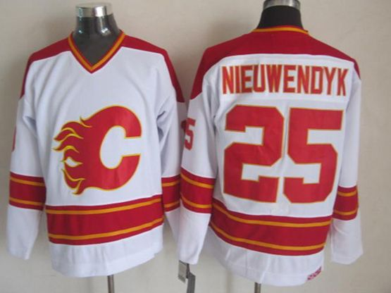 Mens reebok nhl calgary flames #25 nieuwendyk white throwbacks Jersey