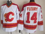 Mens reebok nhl calgary flames #14 fleury white throwbacks Jersey